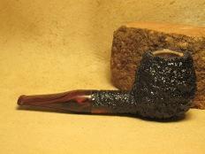 Rasted handcut pipes RH1063, rusticated pipe cumberland stem