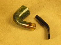 Rasted handcut pipes RH1057 Army mount Green Pipe (1)